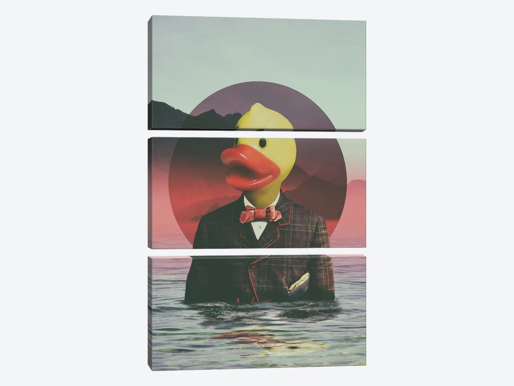 Rubber Ducky by Ali Gulec 3-piece Canvas Print