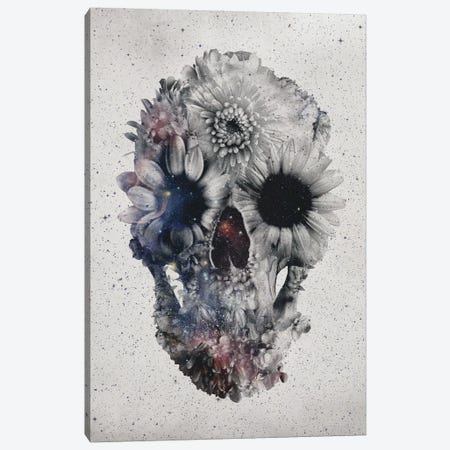 Floral Skull #2 Canvas Print #AGC8} by Ali Gulec Canvas Wall Art