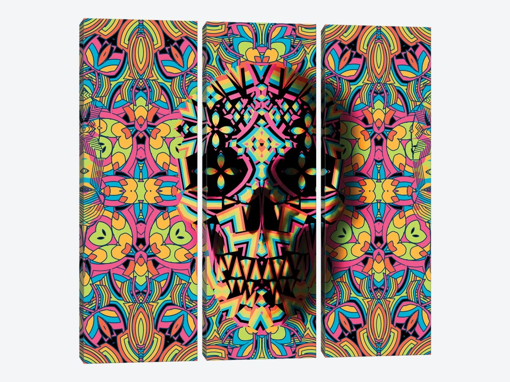Skull Geo, Square by Ali Gulec 3-piece Canvas Art Print