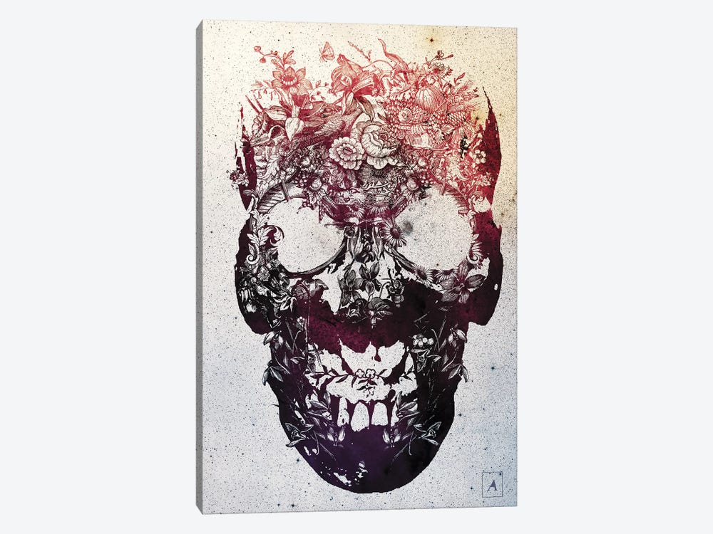 Floral Skull by Ali Gulec 1-piece Canvas Artwork