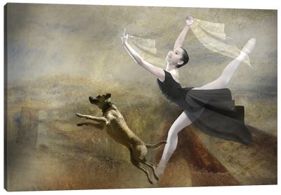 Dancing With My Dog Canvas Art Print