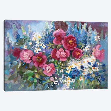 Flowerbed With Peony Canvas Print #AGG125} by Anastasiia Grygorieva Canvas Art Print