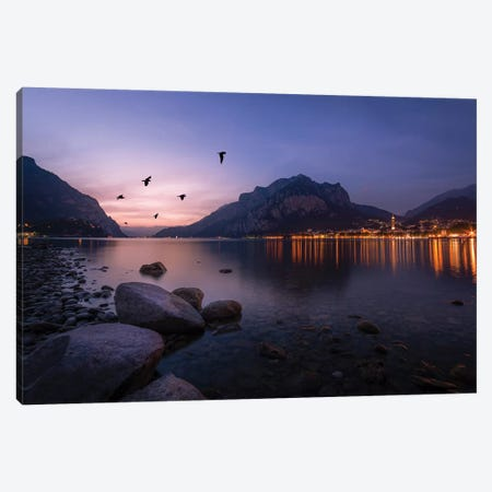 Summer Sunset In Lecco 3-Piece Canvas #AGN40} by Andrea Dall'Agnola Canvas Wall Art