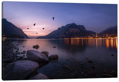 Summer Sunset In Lecco Canvas Art Print