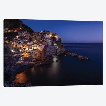 Manarola Blue Hour Canvas Print #AGN51} by Andrea Dall'Agnola Art Print