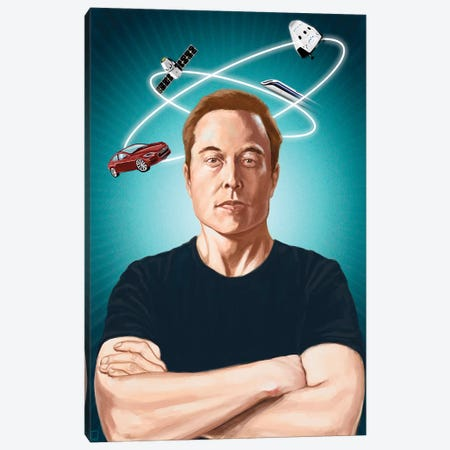 Elon Musk Canvas Print #AGR40} by Alexander Grahovsky Canvas Artwork
