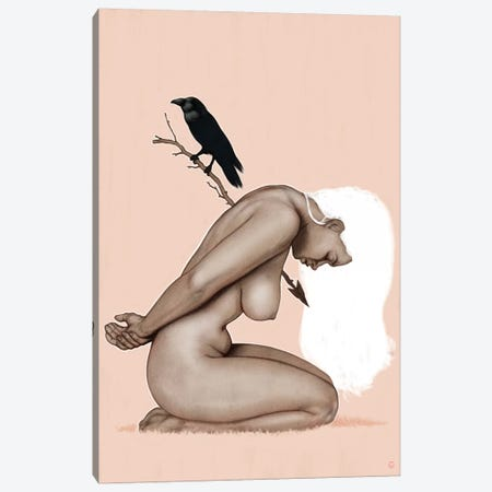 Crow And Arrow Canvas Print #AGR4} by Alexander Grahovsky Art Print