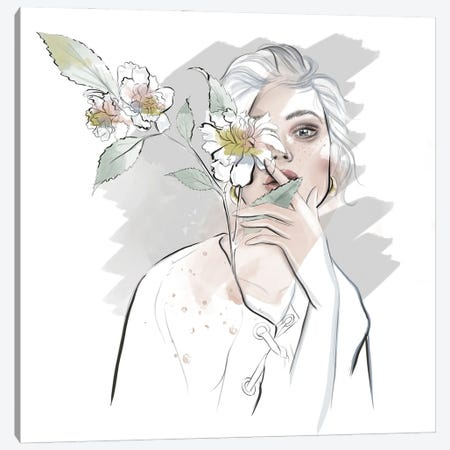 White Portrait Canvas Print #AGS26} by Agata Sadrak Canvas Wall Art
