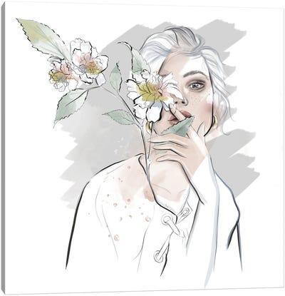 White Portrait Canvas Art Print