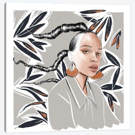 Girl With Earrings Canvas Print #AGS5} by Agata Sadrak Canvas Artwork