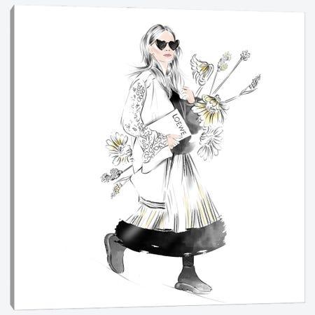 Girl With Flowers Canvas Print #AGS6} by Agata Sadrak Canvas Artwork