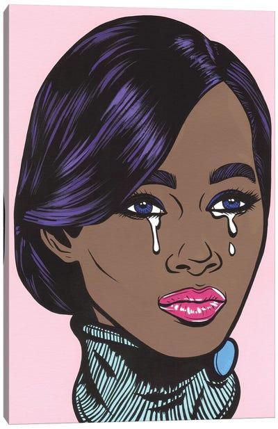 Black Model Crying Girl Canvas Art Print