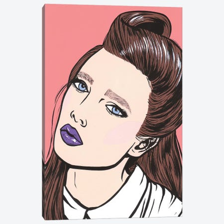 Brunette Comic Girl Canvas Print #AGU104} by Allyson Gutchell Canvas Art Print