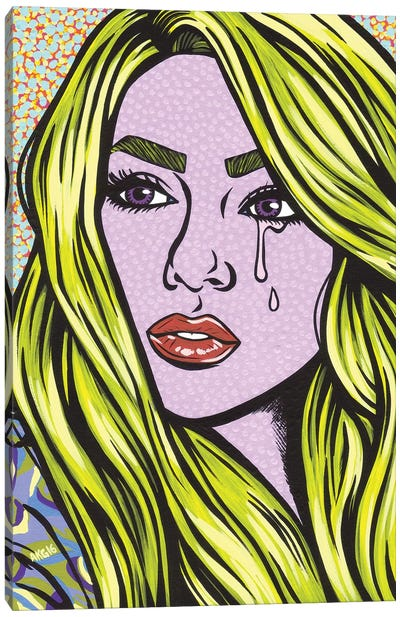 Blonde Crying Comic Girl Canvas Art Print