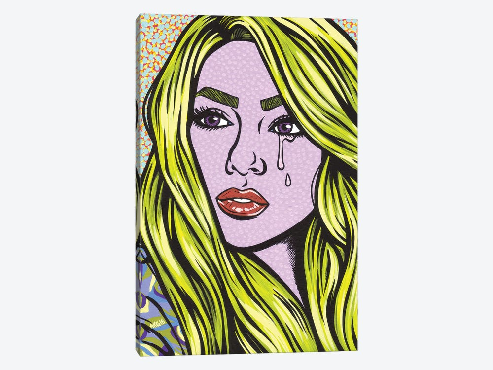 Blonde Crying Comic Girl by Allyson Gutchell 1-piece Canvas Artwork
