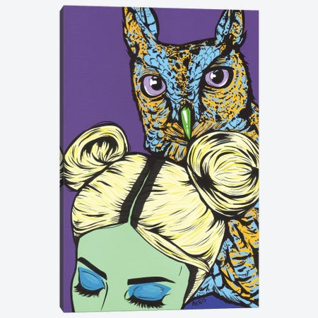 Girl With Owl Canvas Print #AGU110} by Allyson Gutchell Canvas Art Print
