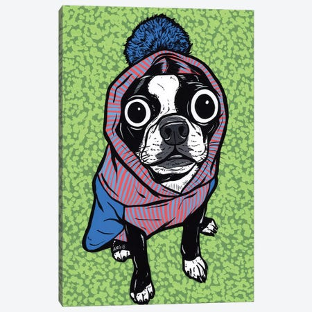 Boston Terrier Pom Sweater Canvas Print #AGU114} by Allyson Gutchell Canvas Art