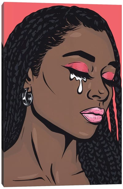 Coral Crying Comic Girl Canvas Art Print