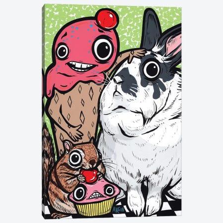 Lionhead Rabbit Friends 3-Piece Canvas #AGU119} by Allyson Gutchell Canvas Print