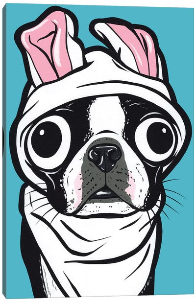 Boston Terrier Bunny Canvas Art Print