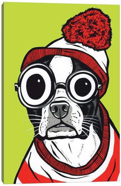 Boston Terrier Waldo Canvas Art Print