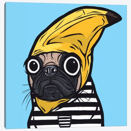 Banana Pug Canvas Print #AGU137} by Allyson Gutchell Canvas Wall Art