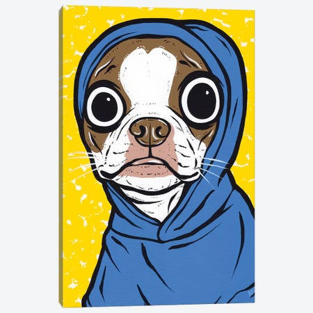 Brown Boston Terrier Hoodie Canvas Print #AGU140} by Allyson Gutchell Canvas Wall Art