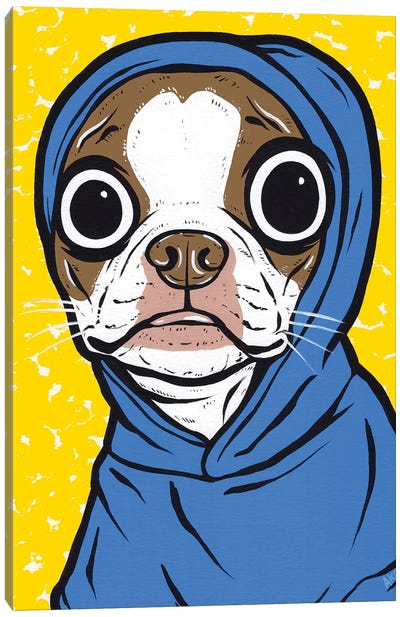 Brown Boston Terrier Hoodie Canvas Art Print