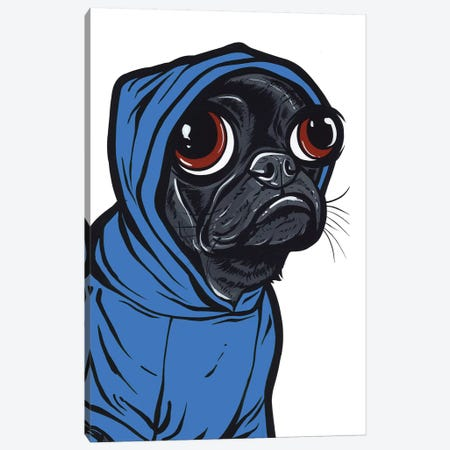 Black Pug Hoodie Canvas Print #AGU143} by Allyson Gutchell Canvas Wall Art