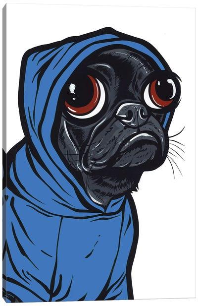 Black Pug Hoodie Canvas Art Print