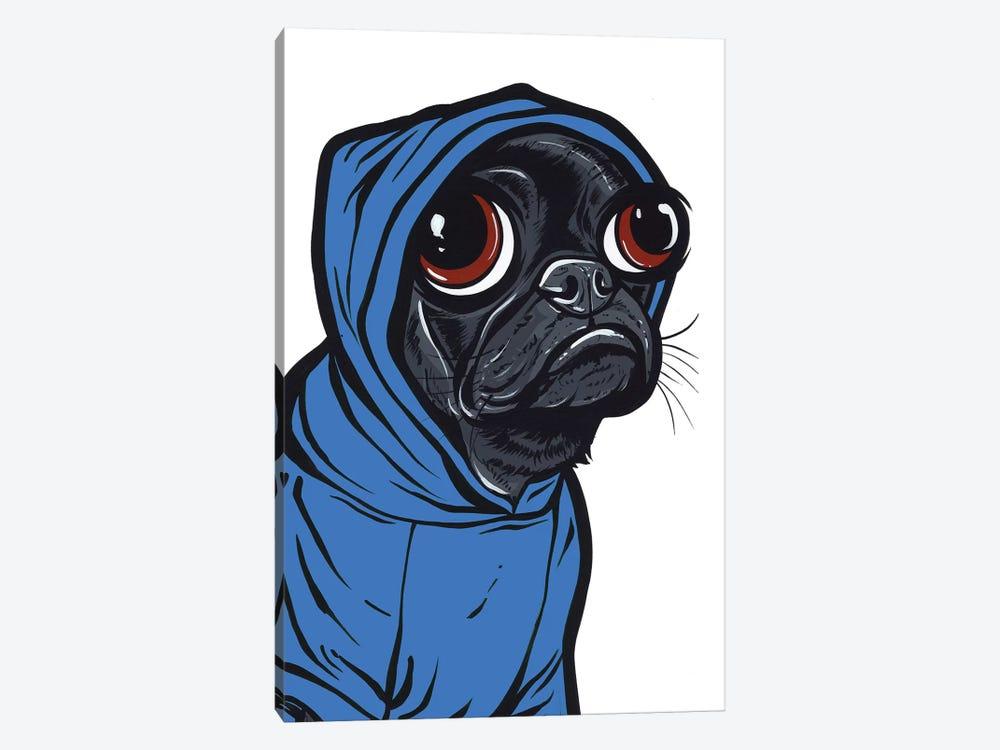 Black Pug Hoodie by Allyson Gutchell 1-piece Canvas Art Print