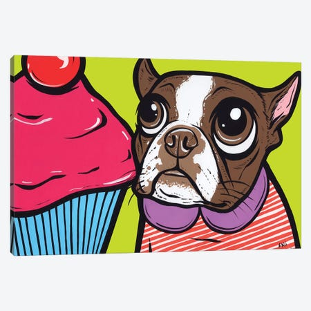 Brown Boston Terrier Cupcake Canvas Print #AGU144} by Allyson Gutchell Art Print