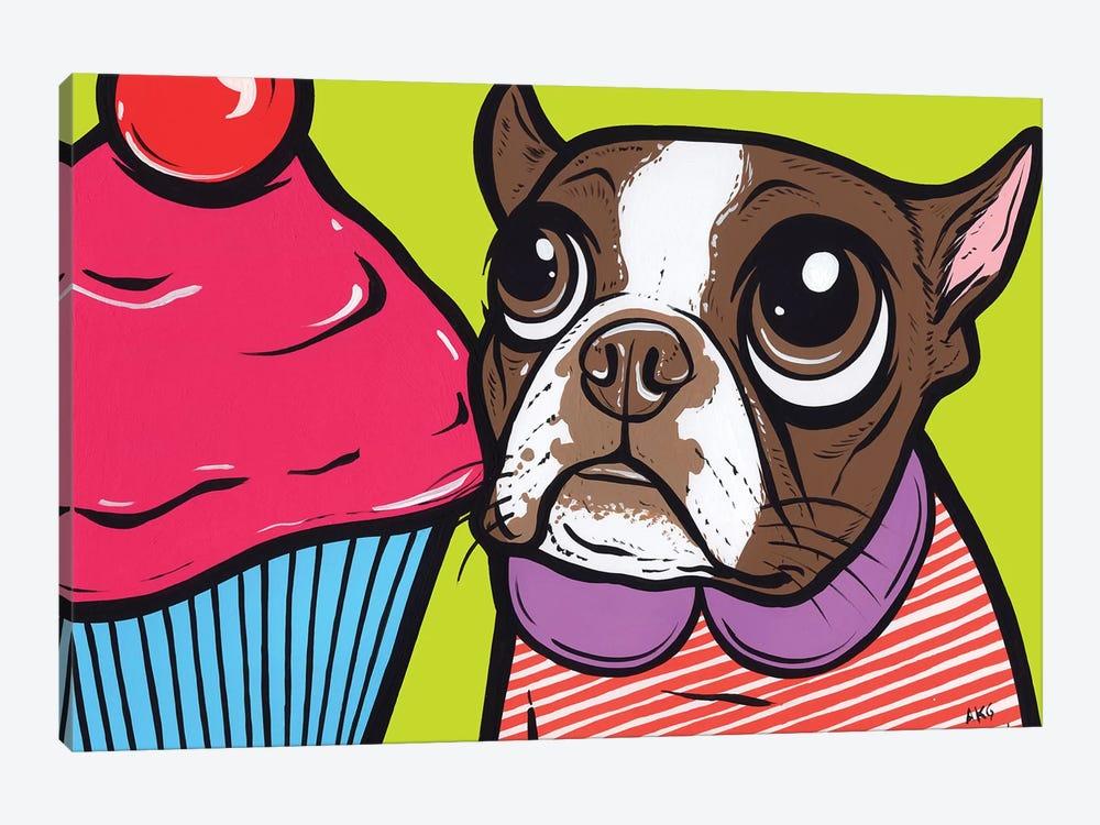 Brown Boston Terrier Cupcake by Allyson Gutchell 1-piece Canvas Artwork