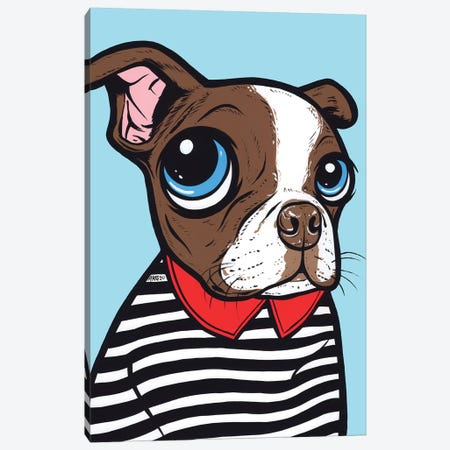 Brown Boston Terrier Canvas Print #AGU146} by Allyson Gutchell Canvas Print