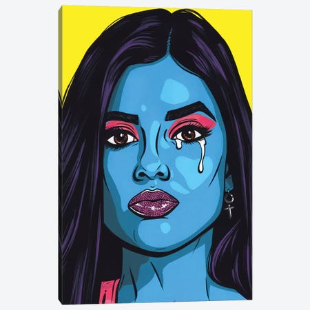 Blue Crying Comic Girl Canvas Print #AGU149} by Allyson Gutchell Canvas Artwork