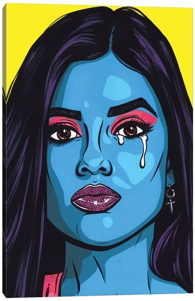 Blue Crying Comic Girl Canvas Art Print