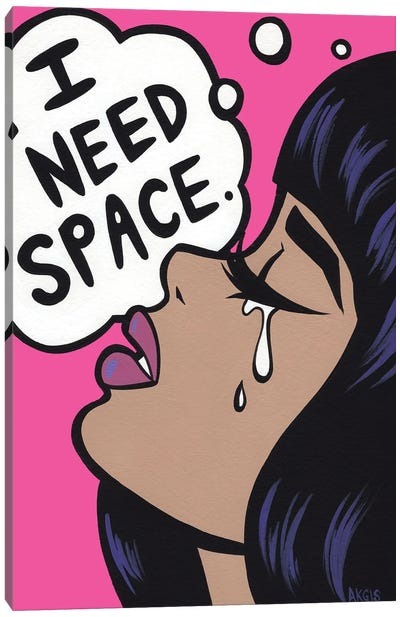 I Need Space Crying Girl Canvas Art Print