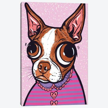 Striped Brown Boston Terrier Canvas Print #AGU169} by Allyson Gutchell Canvas Artwork