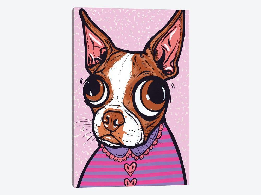 Striped Brown Boston Terrier by Allyson Gutchell 1-piece Canvas Print