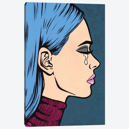 Blue Turtleneck Sad Girl Canvas Print #AGU16} by Allyson Gutchell Art Print