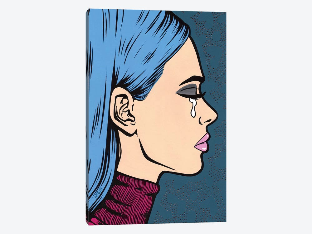 Blue Turtleneck Sad Girl 1-piece Canvas Wall Art