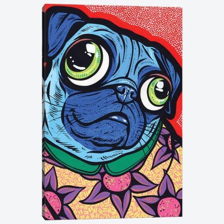 Blue Pug Canvas Print #AGU170} by Allyson Gutchell Art Print