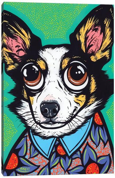 Tri Color Corgi Canvas Art Print