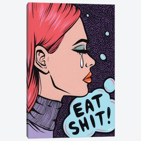 Eat It! Comic Girl Canvas Print #AGU21} by Allyson Gutchell Canvas Print