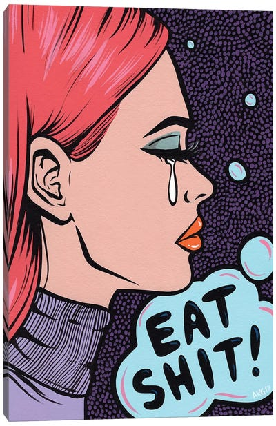 Eat It! Comic Girl Canvas Art Print