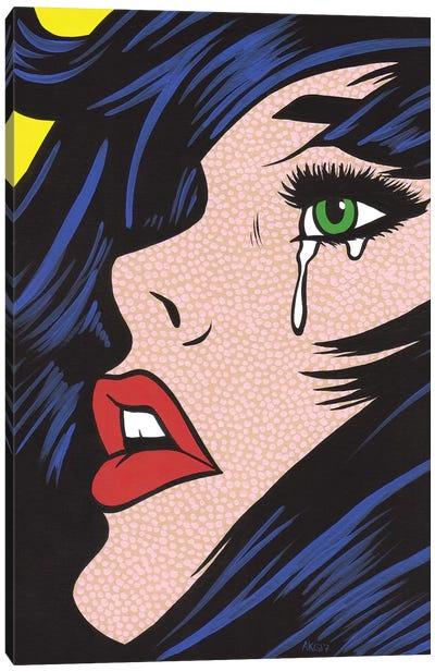 Green Eyes Crying Girl Canvas Art Print