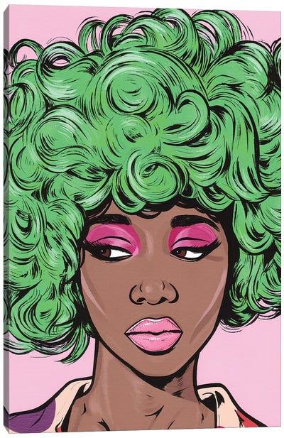 Green Kawaii Comic Girl Canvas Art Print