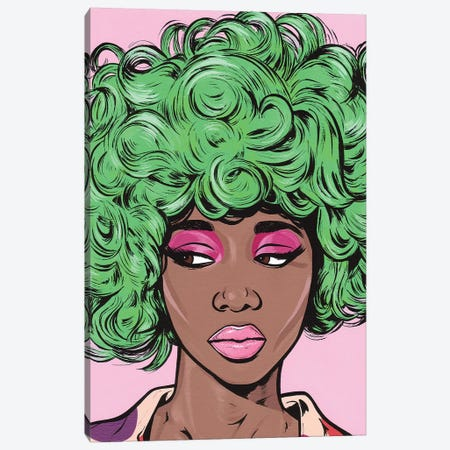 Green Kawaii Comic Girl Canvas Print #AGU28} by Allyson Gutchell Art Print