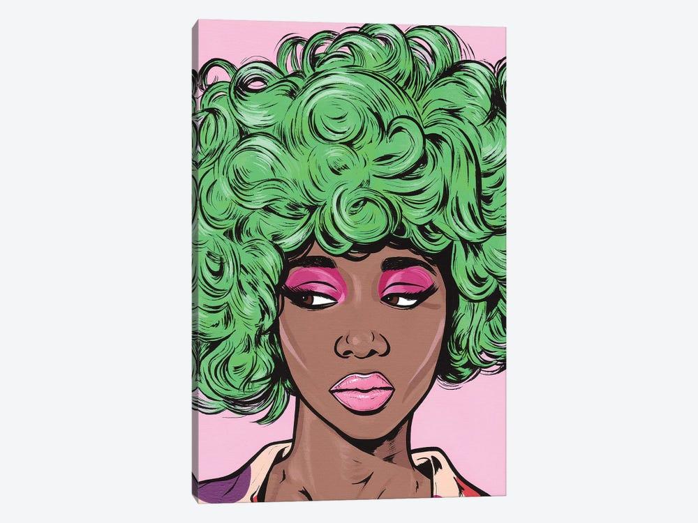 Green Kawaii Comic Girl by Allyson Gutchell 1-piece Canvas Art Print