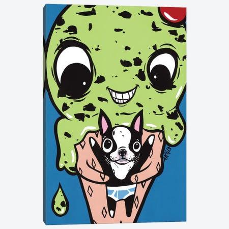 Ice Cream Hugging Boston Terrier Canvas Print #AGU30} by Allyson Gutchell Canvas Wall Art